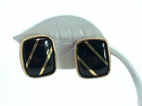 14K Yellow Gold Square Onyx Post Earrings w/ Two Gold Stripes