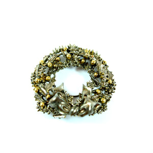 Costume Silver and Gold Tone Art Holiday Wreath Brooch Pin