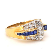 Load image into Gallery viewer, Vintage Tiffany & Co 14K Yellow Gold Sapphire & Diamond Buckle Ring - Sz. 5.5