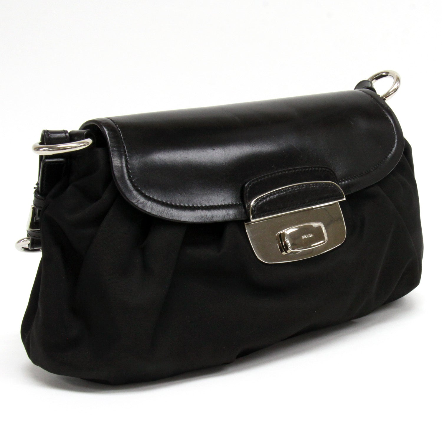 5a87a82e8add ... Load image into Gallery viewer, Prada Black Nylon Leather Silver  Hardware Flap Shoulder Bag ...