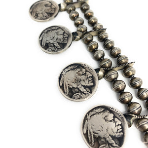 Native American Buffalo Nickel Sterling Silver Fox Turquoise Squash Blossom Necklace