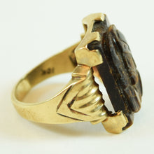 Load image into Gallery viewer, 10 Karat Yellow Gold and Carved Tigers Eye Knight Ring, Size 9.5