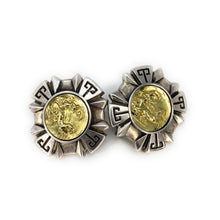 Load image into Gallery viewer, Esti Frederica Sterling Silver 18K Gold Cameo Warrior Square Clip Earrings
