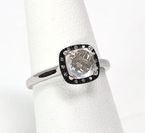 14K White Gold 1.40ct Topaz Faceted Cushion / 0.04ctw Diamond Ring Size 6.75