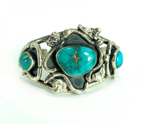 Native American Navajo Sterling Silver Turquoise Frog Cuff Bracelet