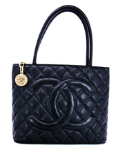 Load image into Gallery viewer, Chanel Black Caviar Leather Quilted Medallion Tote