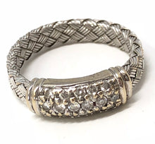 Load image into Gallery viewer, Roberto Coin Diamond 18K White Gold Woven Ladies Anniversary Band size 5.5