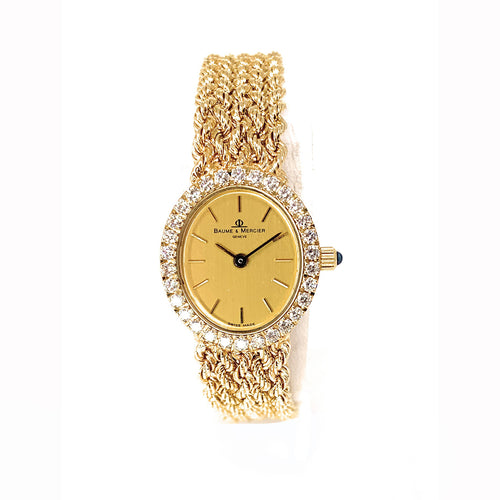 Vintage Baume & Mercier 14k Yellow Gold Diamond Ladies Watch