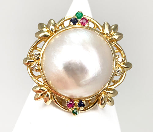14K Yellow Gold MABE Pearl & Multi Stone Ring