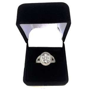 14K White Gold 1.00ctw Split Shank Halo Diamond Engagement Ring - Sz. 6¾