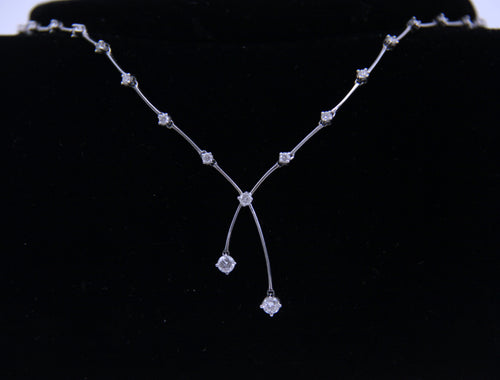 1.08ctw Diamond White Gold Link Necklace 17.5
