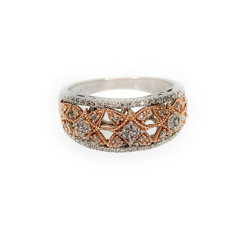 Pave Diamond Floral Halo Sterling Silver and 14K Rose Gold Ring