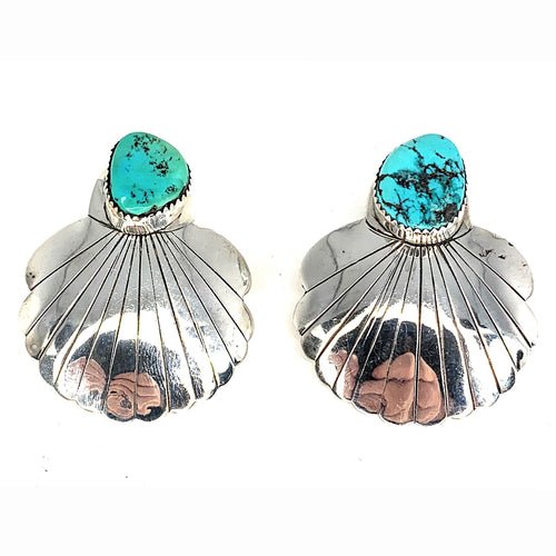 Vintage Bisbee Turquoise Sterling Silver Concho Seashell Post Earrings
