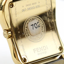 Load image into Gallery viewer, B. Fendi Diamond Buckle Watch with Leather Strap, Gold/Black