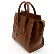 Load image into Gallery viewer, Celine Micro Luggage Tote Handbag Brown Leather