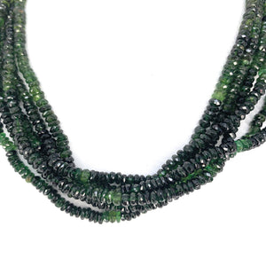 Beautiful Tourmaline 6-strand Bead Necklace w/ 18K gold Hook Closure