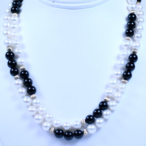 14 Karat Yellow Gold Black Onyx and White Pearl Beaded Necklace