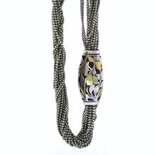 Load image into Gallery viewer, Cartier 18K Yellow Gold & Sterling Silver Abstract Barrel Bead Multi Strand Necklace