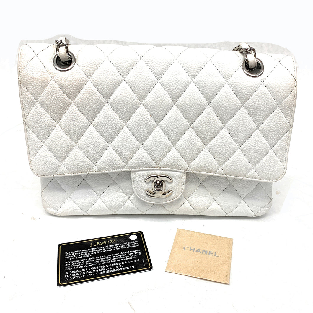 Chanel Quilted White Classic Double Small Flap Bag
