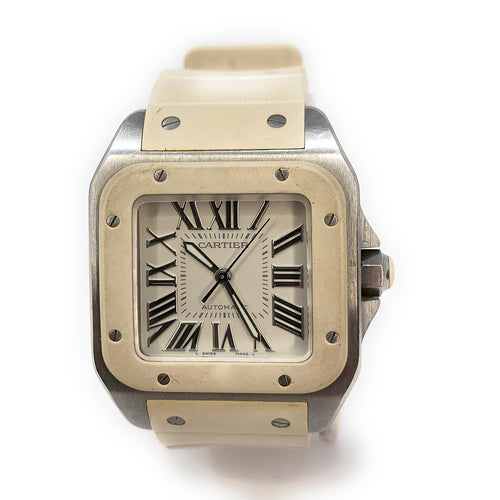AUTHENTIC! Cartier Santos 100 Stainless Steel White Rubber Ladies Watch