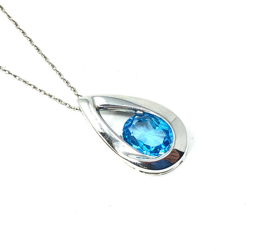 14K White Gold Blue Topaz Oval Pear Necklace Pendant