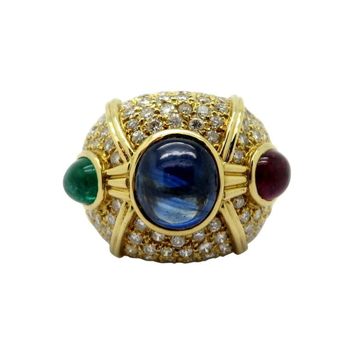 18 Karat Gold Large Dome Pave Diamond, Emerald, Ruby and Sapphire Ring, Size 6