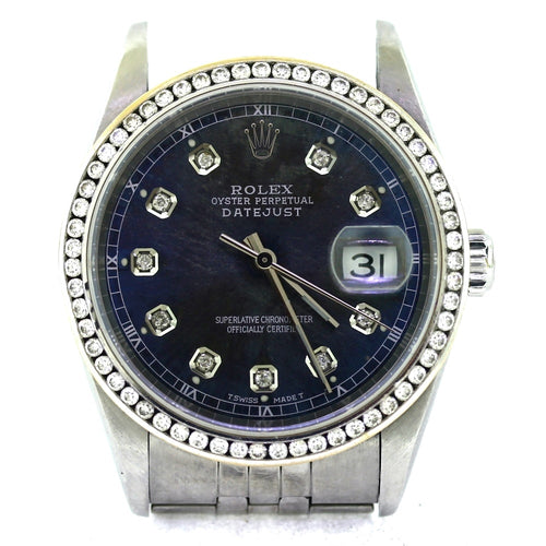 ROLEX 18K White Gold & Stainless Steel Diamond Bezel Datejust Watch - Mens