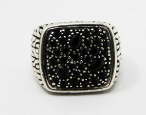 John Hardy Men's Silver Classic Chain with Black Sapphires Signet Ring
