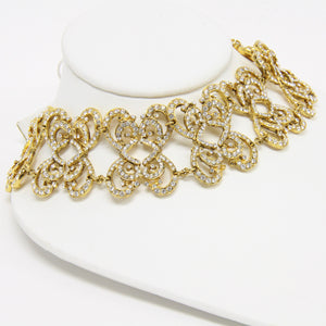 Mona Saab Vintage Collar Style Gold-Tone Crystal Necklace and Gold-Tone Earrings