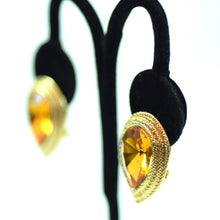Load image into Gallery viewer, Costume Gold Tone Tear Drop with Amber Colored Stone Clip On Earrings