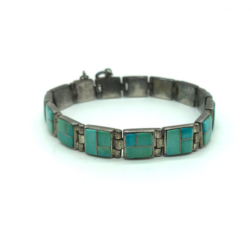 Sterling Silver Turquoise Inlay Bracelet -Signed TSF, Size 6 3/4