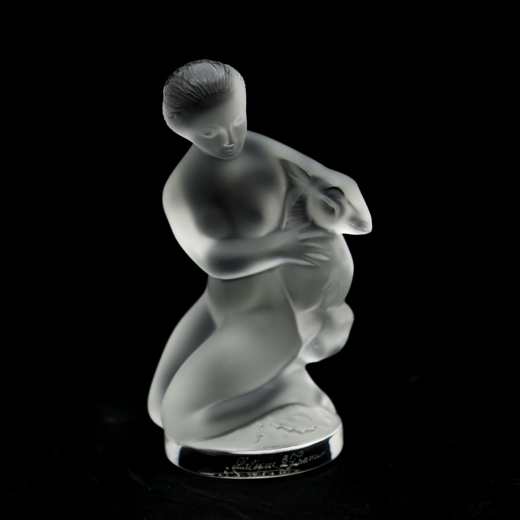 LALIQUE Crystal Frosted Diana with Fawn, Signed