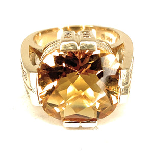 14K Yellow Gold 8.00ctw Citrine & 0.50ctw Diamond Cocktail Ring - Sz. 6.25
