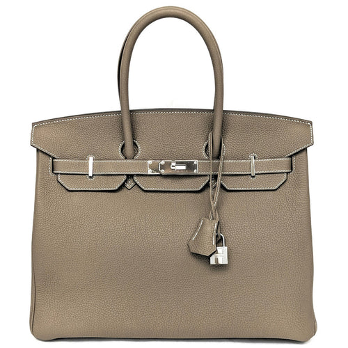 Hermes Birkin Etoupe Fjord Leather Palladium 35cm Bag