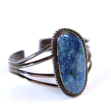 Load image into Gallery viewer, Raymond Delgarito Native Style Sterling Silver and Blue Agate Cuff Bracelet