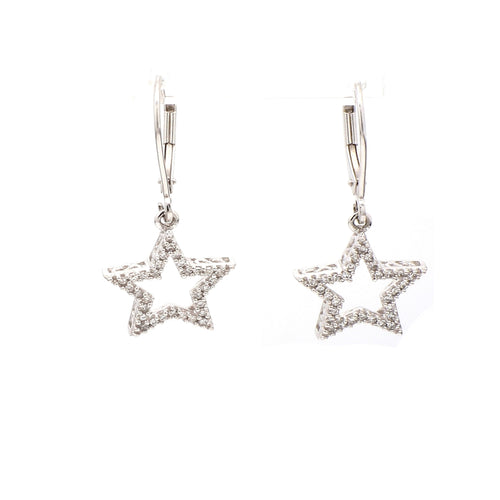 14K White Gold 0.50ctw Diamond Star Dangle Earrings