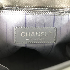 Chanel Gray Quilted Polished Calfskin Satchel