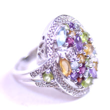 Load image into Gallery viewer, Sterling Silver and Multicolored Crystal Stone Jewelry 5-Ring Set