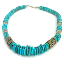 Load image into Gallery viewer, GORGEOUS Navajo Sterling Silver & Turquoise Barrel Bead Necklace