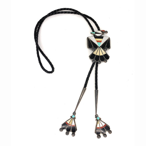 Vintage 50's Zuni Sterling Silver Multi Stone Inlay Thunderbird Bolo Tie