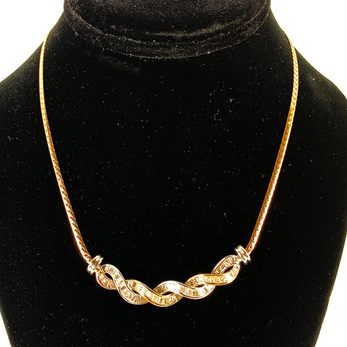 Stunning 14K Two Tone White & Yellow Gold Channel Set Diamond Necklace