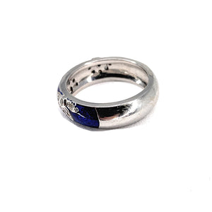 Hidalgo 18K White Gold Blue Enamel and Diamond Ring - Sz. 6