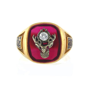 VINTAGE Men's 14K 2-tone Gold & Diamond Elks Lodge Red Stone Signet Ring - Sz. 11