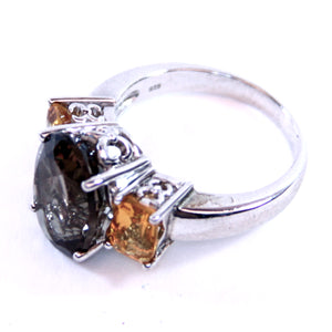 Samuel Aaron Sterling Silver and Smokey Quartz and Amber Ring