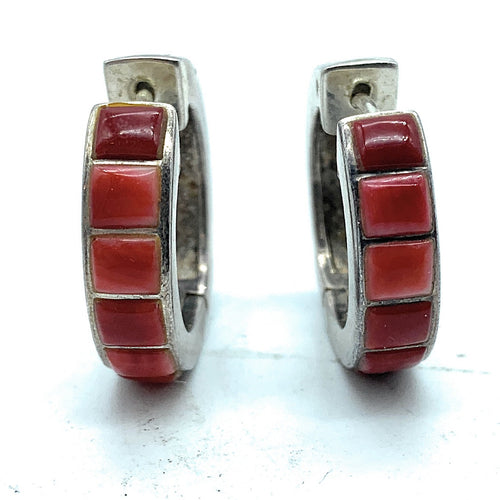 Vintage 1960's Zuni Sterling Silver Coral Inlay Wide Hoop Earrings