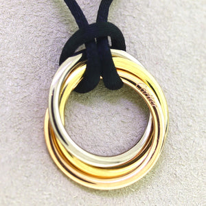 Cartier 18K Gold Tri-Tone Trinity Pendant Necklace on Silk Cord