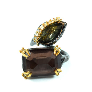 Alexis Bittar Costume Black Gold Tone White Rhinestone and Green and Pink Crystal Ring, Size 6