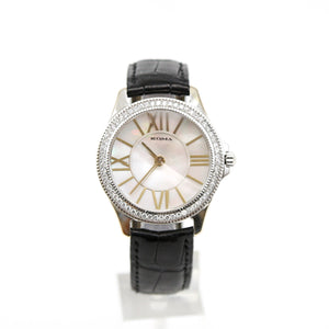 18K White Gold Roma Watch Mother of Pearl Dial, Diamond Bezel, Faceted Crystal