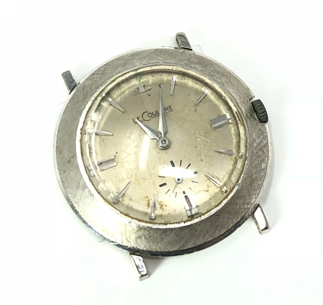 Vintage LeCoultre 14K White Gold Florentine Finish Watch Face