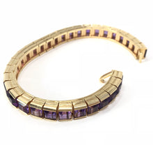 Load image into Gallery viewer, 14K Yellow Gold 16.00ctw Amethyst Tennis Bracelet Size 6.75
